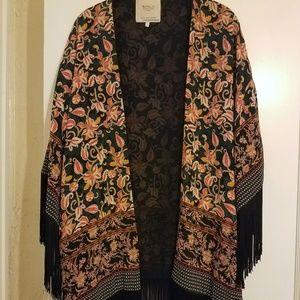 Zara Floral Kimono Jacket with fringe